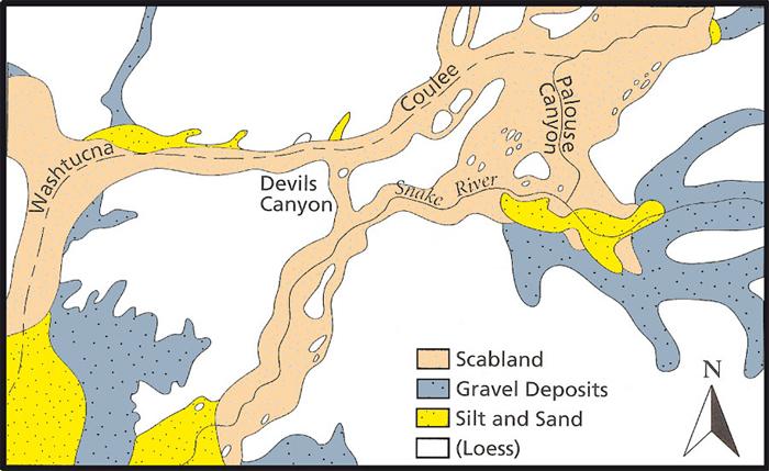 Характер эродированности (комплекс долин и каналов) и отложения, вызванные разливом озера Миссула