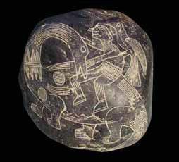 изображает древнего перуанца верхом на динозавре