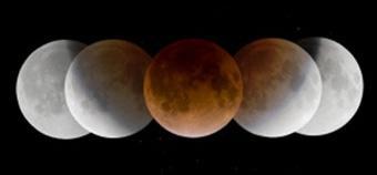 Замедленная фотосъемка во время частичного лунного затмения